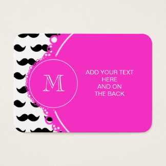 Black Mustache Pattern, Hot Pink Monogram Business Card