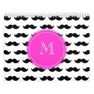 Black Mustache Pattern, Hot Pink Monogram Wall Calendars