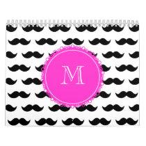 Black Mustache Pattern, Hot Pink Monogram Calendar
