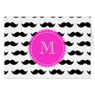 Black Mustache Pattern, Hot Pink Monogram Greeting Cards