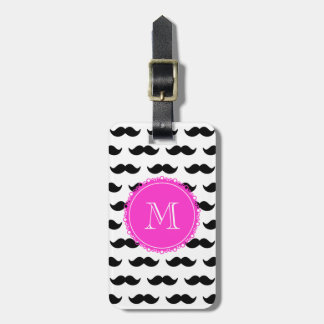 Black Mustache Pattern, Hot Pink Monogram Luggage Tag