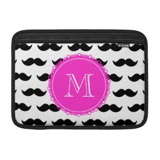 Black Mustache Pattern, Hot Pink Monogram MacBook Air Sleeve
