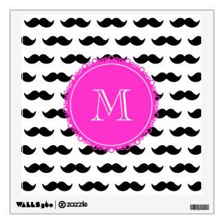 Black Mustache Pattern, Hot Pink Monogram Wall Sticker