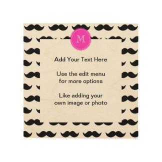 Black Mustache Pattern, Hot Pink Monogram Wood Wall Decor