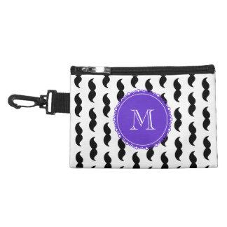 Black Mustache Pattern, Purple Monogram Accessories Bag