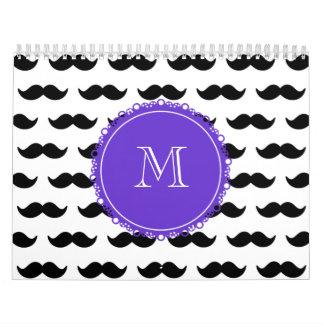 Black Mustache Pattern, Purple Monogram Calendar