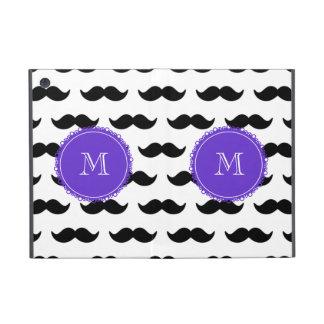 Black Mustache Pattern, Purple Monogram iPad Mini Cover