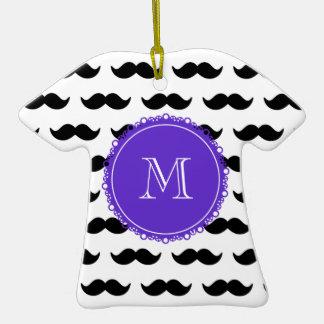 Black Mustache Pattern, Purple Monogram Christmas Ornament