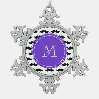 Black Mustache Pattern, Purple Monogram Ornament