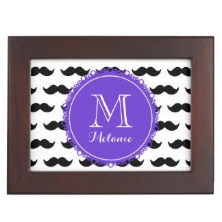 Black Mustache Pattern Purple Monogram Memory Boxes