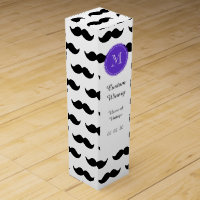 Black Mustache Pattern, Purple Monogram Wine Gift Box