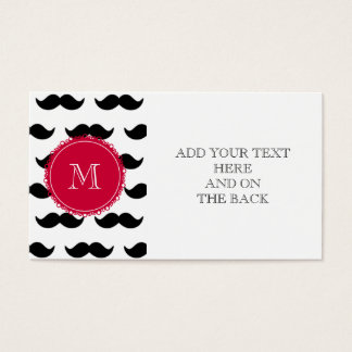 Black Mustache Pattern, Red Monogram Business Card