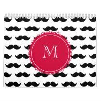 Black Mustache Pattern, Red Monogram Calendar