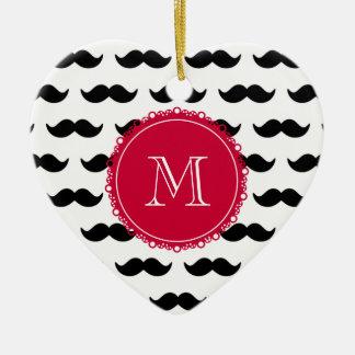 Black Mustache Pattern, Red Monogram Ceramic Ornament