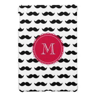 Black Mustache Pattern, Red Monogram Cover For The iPad Mini