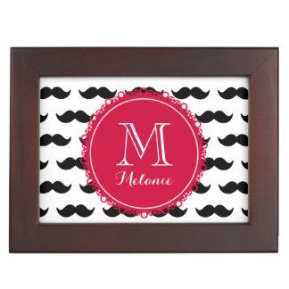 Black Mustache Pattern Red Monogram Memory Boxes