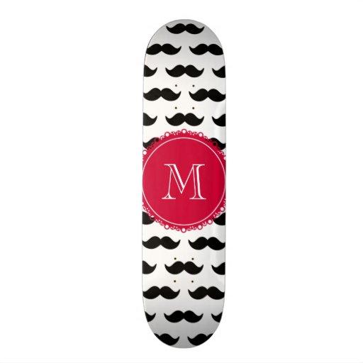Black Mustache Pattern, Red Monogram Skate Board Decks