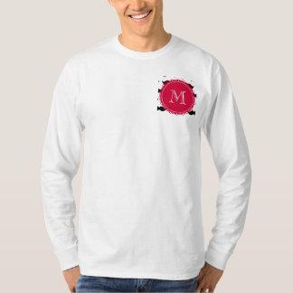 Black Mustache Pattern, Red Monogram T-Shirt