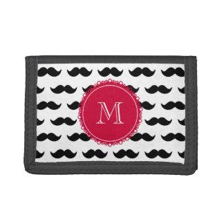 Black Mustache Pattern, Red Monogram Tri-fold Wallets