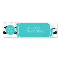 Black Mustache Pattern, Teal Monogram Bumper Sticker