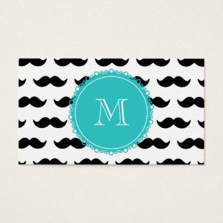 Black Mustache Pattern, Teal Monogram Business Card