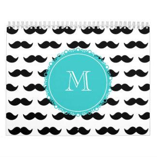 Black Mustache Pattern, Teal Monogram Calendar