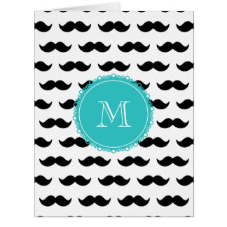 Black Mustache Pattern, Teal Monogram Card
