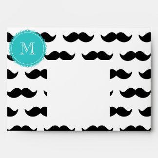 Black Mustache Pattern, Teal Monogram Envelope