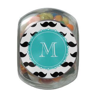 Black Mustache Pattern, Teal Monogram Glass Jars