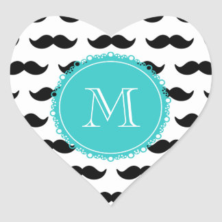 Black Mustache Pattern, Teal Monogram Heart Sticker