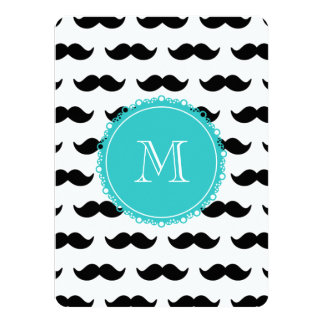 Black Mustache Pattern, Teal Monogram 5.5x7.5 Paper Invitation Card