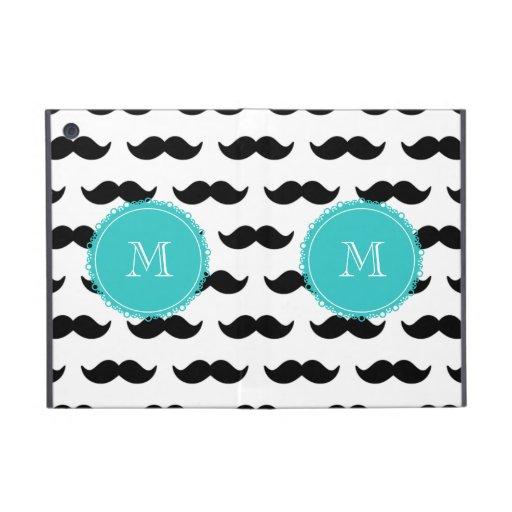 Black Mustache Pattern, Teal Monogram iPad Mini Case