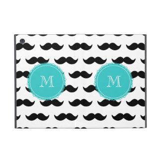 Black Mustache Pattern, Teal Monogram iPad Mini Covers