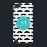"Black Mustache Pattern, Teal Monogram iPod Touch (5th Generation) Cover<br><div class=""desc"">Fun, hipster, girly design with a cute black mustache pattern, on a white background with a teal circular label or tag and a white monogram in a modern font, you can change to your initial, your letter or your text. Graphics By Mimi&#169; Other colors available. A fun gift for her...</div>"