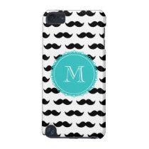 Black Mustache Pattern, Teal Monogram iPod Touch (5th Generation) Cover