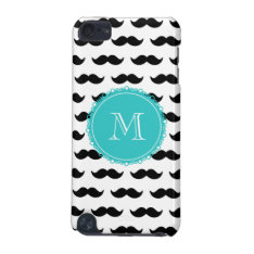 Black Mustache Pattern, Teal Monogram iPod Touch (5th Generation) Cover at Zazzle