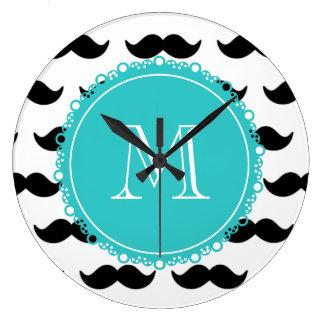 Black Mustache Pattern, Teal Monogram Large Clock