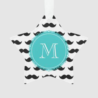 Black Mustache Pattern, Teal Monogram Ornament