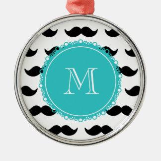 Black Mustache Pattern, Teal Monogram Round Metal Christmas Ornament
