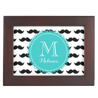 Black Mustache Pattern Teal Monogram Memory Box