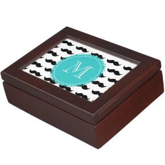 Black Mustache Pattern Teal Monogram Keepsake Box
