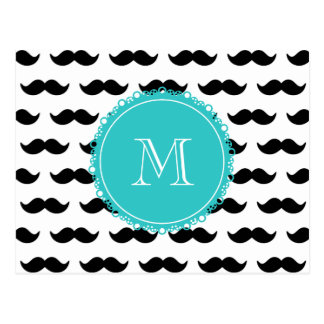 Black Mustache Pattern, Teal Monogram Postcard