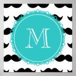 Black Mustache Pattern, Teal Monogram Poster