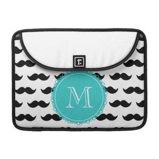 Black Mustache Pattern, Teal Monogram Sleeve For MacBooks