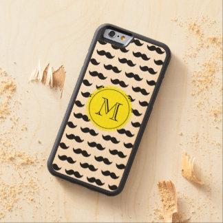 Black Mustache Pattern, Yellow Monogram Carved Maple iPhone 6 Bumper Case