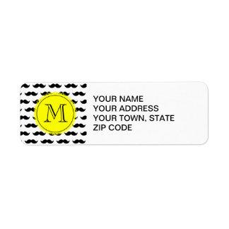 Black Mustache Pattern, Yellow Monogram Label