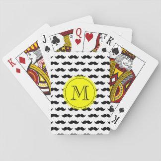 Black Mustache Pattern, Yellow Monogram Playing Cards