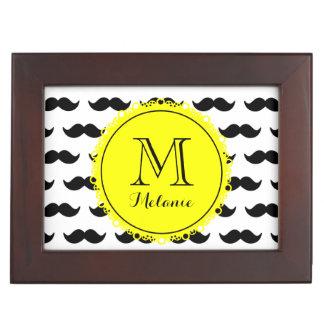 Black Mustache Pattern Yellow Monogram Memory Boxes