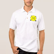 Black Mustache Pattern, Yellow Monogram Polo Shirt