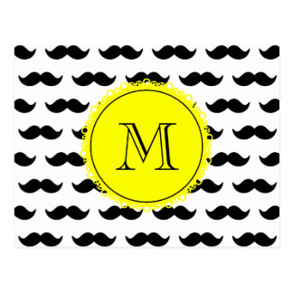 Black Mustache Pattern, Yellow Monogram Postcard